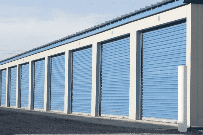 A row of closed self storage units
