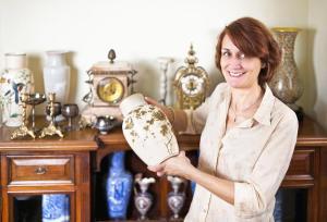 woman holding vase