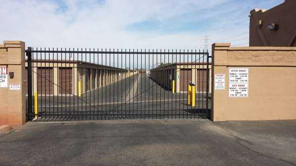 Secure gated entrance outdoor storage units