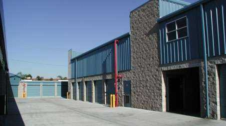 Large outdoor storage units with blue doors