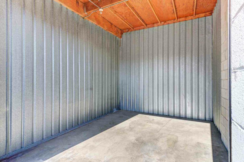 An inside look inside an empty, clean outdoor storage unit