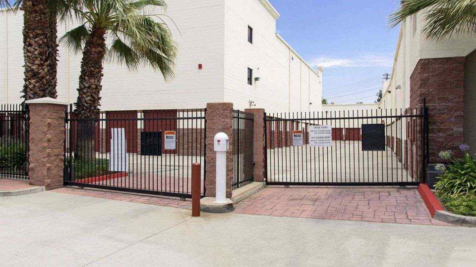 Gated entrance to outdoor self storage units