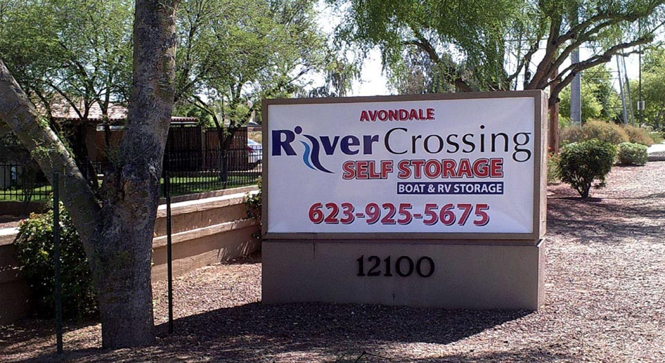 Stand alone signage for Avondale River Crossing Self Storage by the entrance of facility