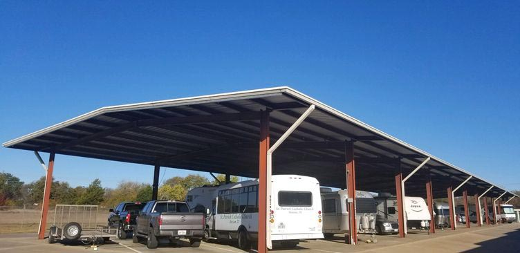 An area of covered outdoor parking for trucks, RVs, trailers, and boats