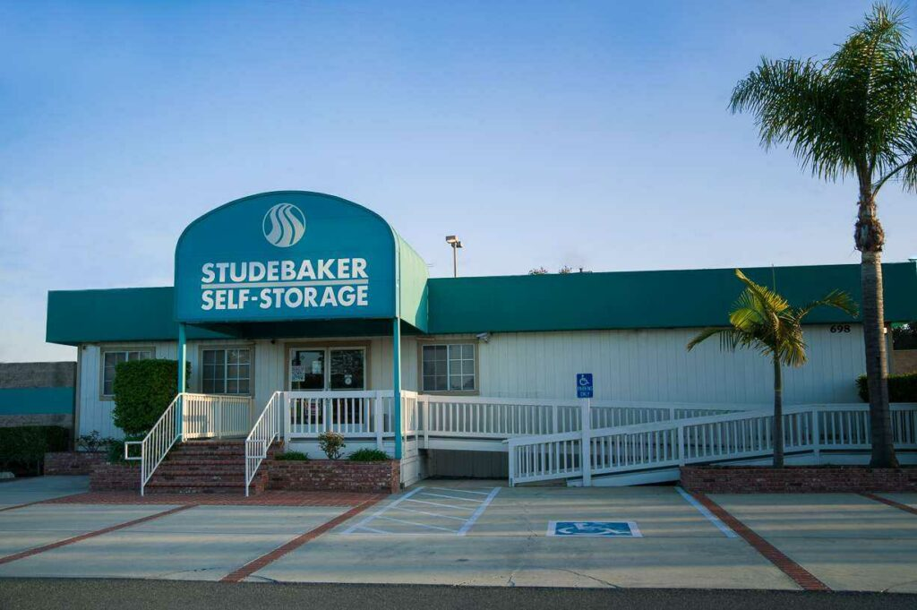 Entrance to Studebaker Self Storage office with a parking lot area