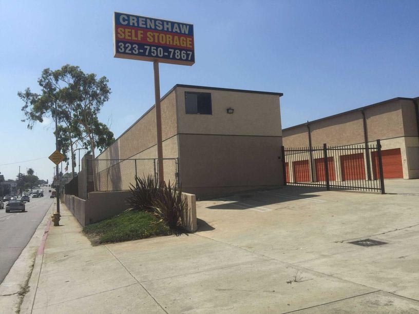 Street view of Crenshaw Self Storage facility with outdoor storage units