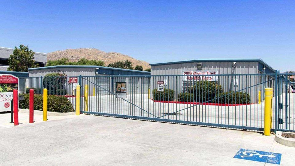 Gated entrance to outdoor storage units in a clean area