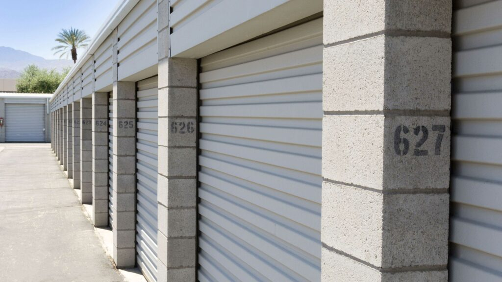 Outdoor storage building with large storage units in a clean area