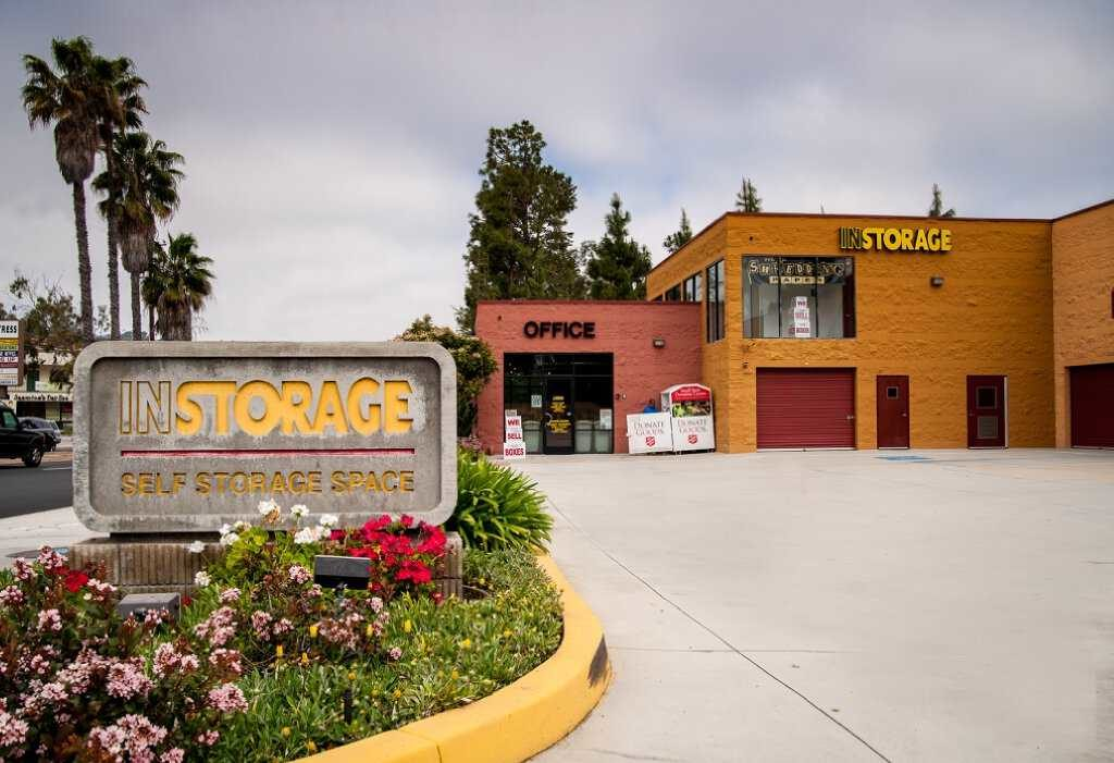 Street entrance to Instorage Self Storage Space office and outdoor storage units
