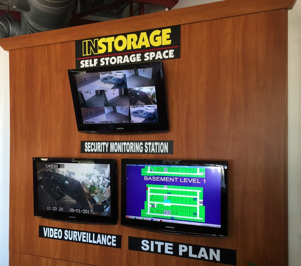 Indoor televisions video monitoring security at the facility