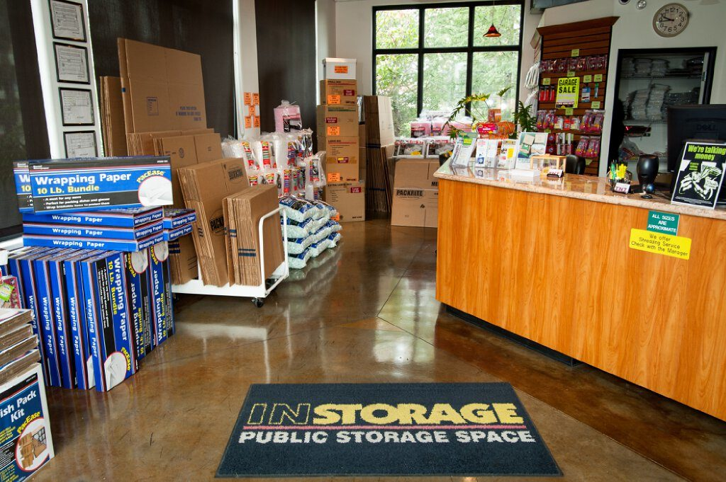 Instorage Public Storage Space office with lot of moving and packing supplies available for purchase around the office