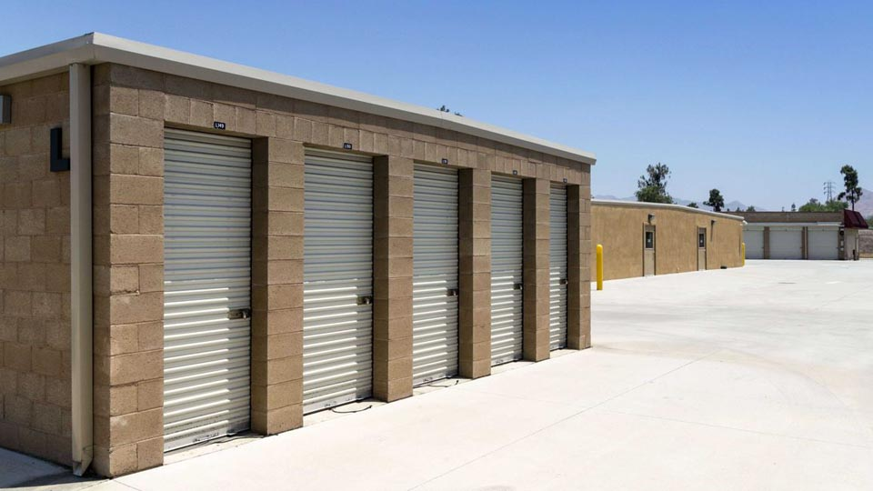 Small outdoor storage building with small units that are secure with locks