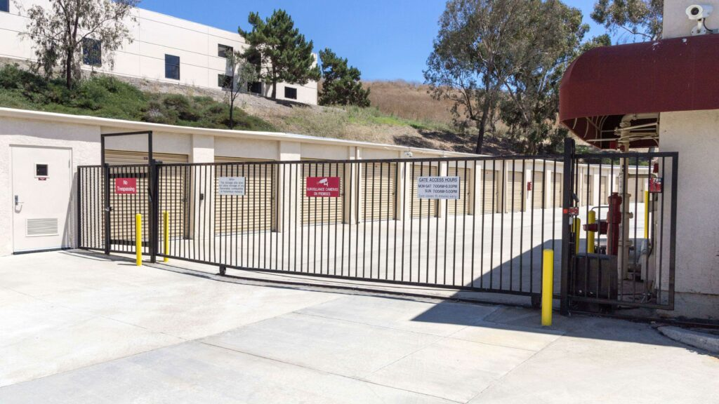 Gated entrance to outdoor storage units