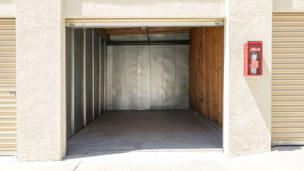 View inside a large outdoor storage unit that is clean