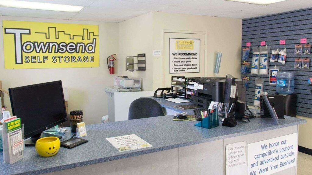 Front desk at Townsend Self Storage office