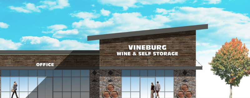 A drawing of the Vineburg Wine And Self Storage facility and office