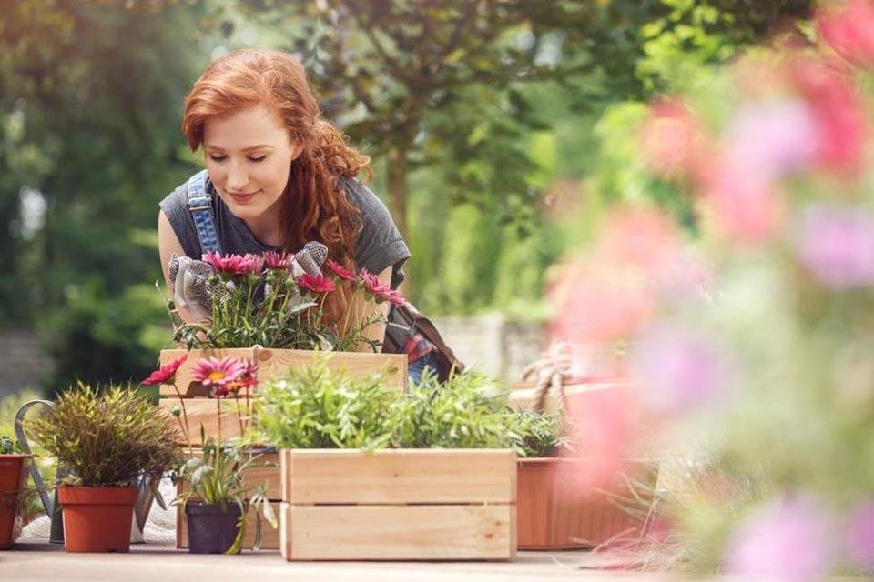redhead planting flowers